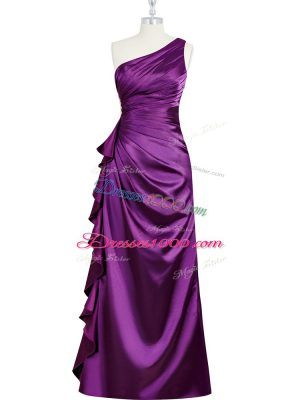 Elastic Woven Satin One Shoulder Sleeveless Side Zipper Beading and Ruching and Pleated Juniors Party Dress in Purple