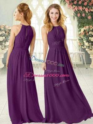 Purple Scoop Zipper Ruching Prom Gown Sleeveless