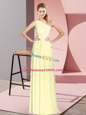 Sleeveless Lace Up Floor Length Ruching Prom Evening Gown