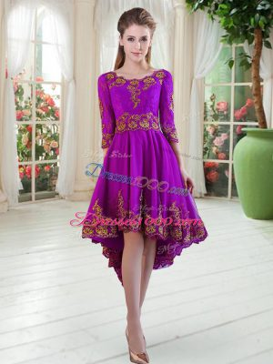 Excellent Embroidery Prom Evening Gown Purple Long Sleeves High Low