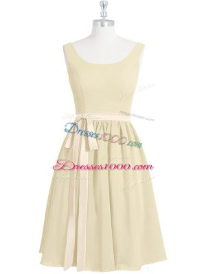 Dynamic Light Yellow Sleeveless Chiffon Zipper Homecoming Dress for Prom and Party