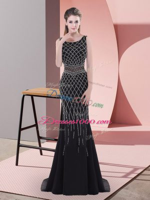 Traditional Black Mermaid Scoop Sleeveless Chiffon Floor Length Backless Beading Prom Party Dress
