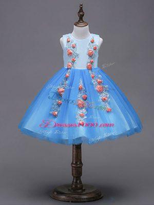 Blue Sleeveless Hand Made Flower Mini Length Flower Girl Dresses