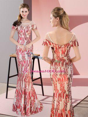 Multi-color Mermaid Scoop Cap Sleeves Floor Length Zipper Sequins Prom Gown