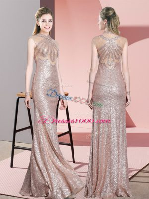 Popular Baby Pink Prom Gown Prom and Party with Ruching High-neck Sleeveless
