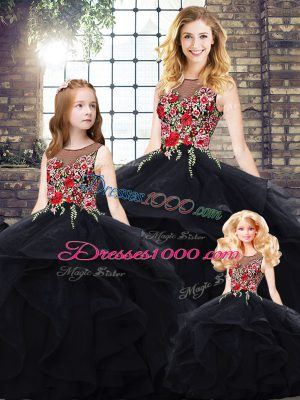 Latest Black Ball Gowns Beading and Embroidery 15 Quinceanera Dress Lace Up Tulle Sleeveless Floor Length