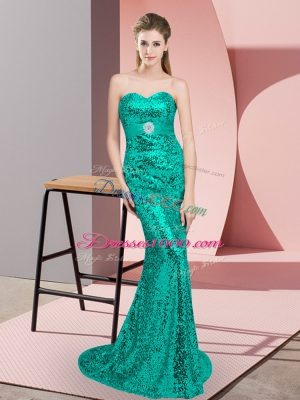 Turquoise Column/Sheath Sequined Scoop Sleeveless Beading Lace Up Prom Evening Gown Sweep Train