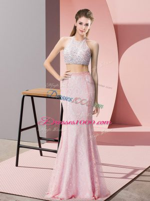 Pink Halter Top Neckline Beading Sleeveless Backless
