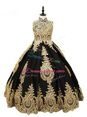Best Black Ball Gowns High-neck Sleeveless Satin Floor Length Lace Up Beading Pageant Dress