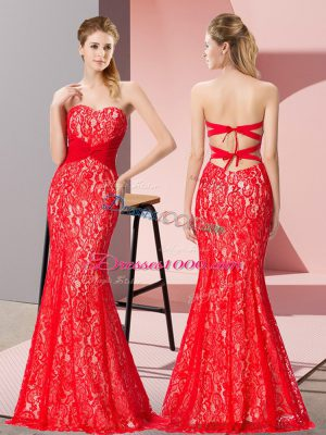 Floor Length Backless Evening Outfits Red for Prom and Party with Beading