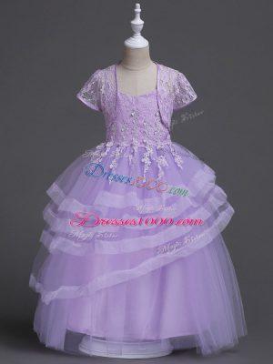 Ideal Spaghetti Straps Sleeveless Zipper Toddler Flower Girl Dress Lavender Tulle
