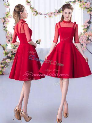 Red Half Sleeves Knee Length Ruching Zipper Bridesmaid Dresses