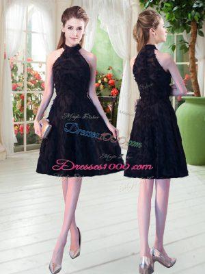 Knee Length Black High-neck Sleeveless Zipper
