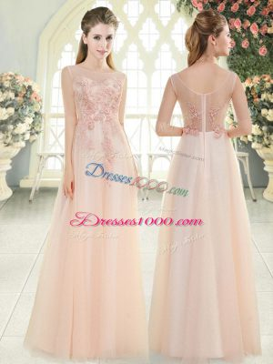 Floor Length Pink Evening Dress Tulle Sleeveless Beading and Lace and Appliques