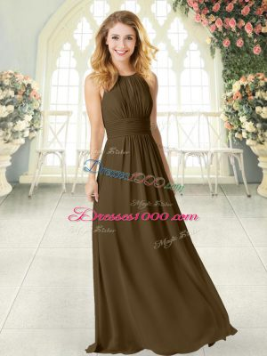 Fantastic Scoop Sleeveless Zipper Prom Dress Brown Chiffon