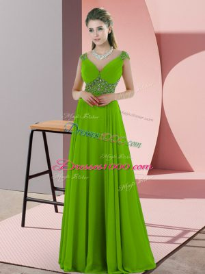 Graceful Green V-neck Backless Beading Prom Dresses Sleeveless