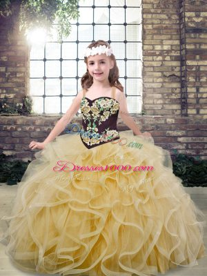 Sweet Champagne Sleeveless Embroidery and Ruffles Floor Length Pageant Dress for Girls