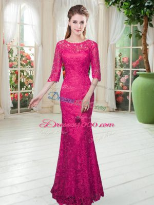Cheap Hot Pink Mermaid Scoop Half Sleeves Lace Floor Length Zipper Lace Prom Gown