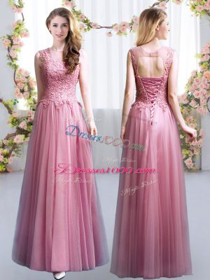 Pink Empire Lace Bridesmaid Dresses Lace Up Tulle Sleeveless Floor Length