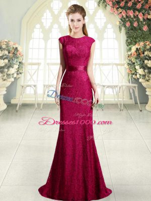 Best Selling Red Cap Sleeves Sweep Train Beading and Lace Prom Gown