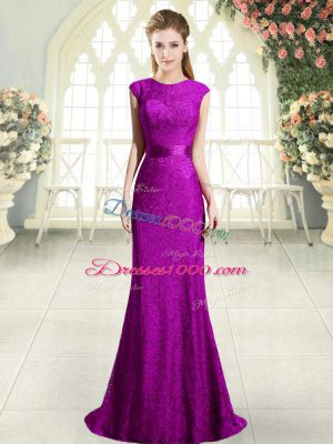 Pretty Eggplant Purple and Purple Mermaid Beading and Lace Prom Party Dress Backless Sleeveless