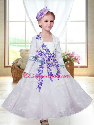 Ideal Lace Straps Sleeveless Zipper Embroidery Toddler Flower Girl Dress in White