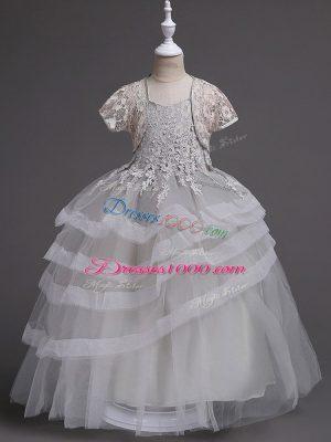 Grey Sleeveless Floor Length Appliques and Ruffled Layers Zipper Flower Girl Dress