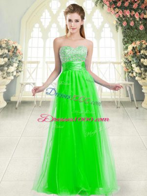 Romantic Sleeveless Tulle Floor Length Lace Up Casual Dresses in Green with Beading