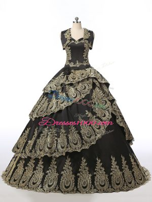 Free and Easy Black Sleeveless Satin Lace Up Quinceanera Dresses for Military Ball and Sweet 16 and Quinceanera