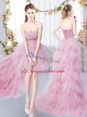 Sleeveless High Low Beading and Ruffles Lace Up Quinceanera Dama Dress with Pink