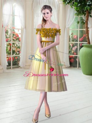 Romantic Tea Length Gold Homecoming Dress Off The Shoulder Sleeveless Lace Up