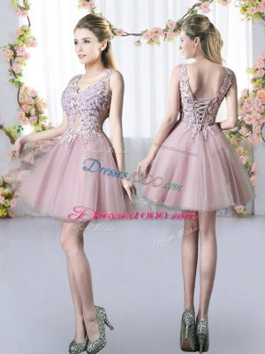 A-line Bridesmaid Dresses Pink V-neck Tulle Sleeveless Mini Length Lace Up