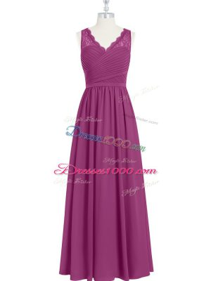 Fuchsia Empire Chiffon V-neck Sleeveless Lace and Ruching Floor Length Backless Formal Dresses