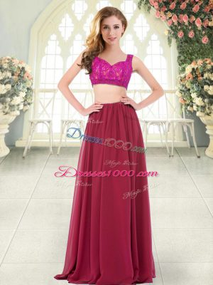 Wine Red Sleeveless Chiffon Zipper Prom Dresses for Prom and Party