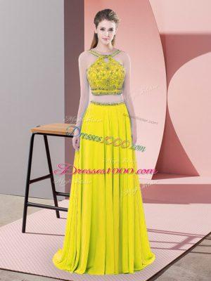 Romantic Yellow Two Pieces Beading Evening Dress Backless Chiffon Sleeveless