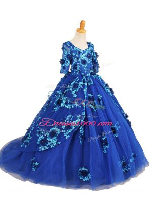 Blue Ball Gowns Tulle V-neck Half Sleeves Beading and Appliques Zipper Pageant Gowns Brush Train
