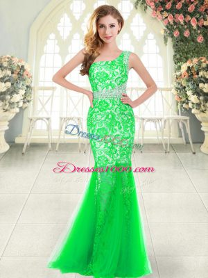 Customized Floor Length Mermaid Sleeveless Green Prom Evening Gown Zipper