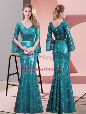 Floor Length Teal Prom Dress Sequined Long Sleeves Belt