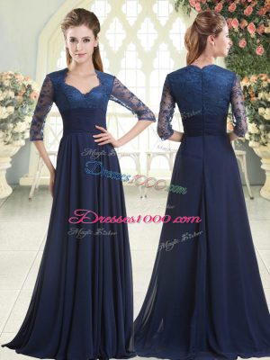 Satin Sweetheart Long Sleeves Sweep Train Zipper Pick Ups Prom Dress in Blue