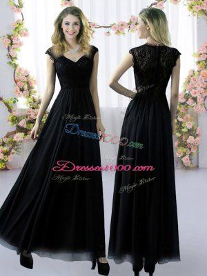 Gorgeous Floor Length Empire Cap Sleeves Black Wedding Party Dress Zipper