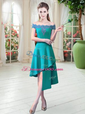 Unique Appliques Homecoming Dress Teal Zipper Sleeveless Asymmetrical