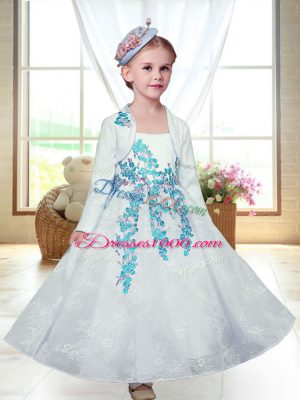 Ankle Length White Toddler Flower Girl Dress Lace Sleeveless Embroidery