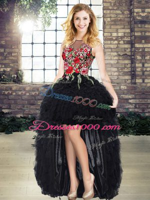 Clearance Embroidery and Ruffles Black Lace Up Sleeveless High Low