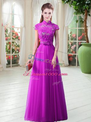 Purple A-line Tulle High-neck Cap Sleeves Appliques and Belt Floor Length Lace Up Evening Dress