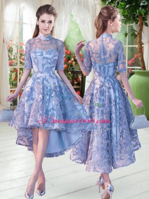 Gorgeous High-neck Half Sleeves Lace Up Appliques Prom Dresses in Blue