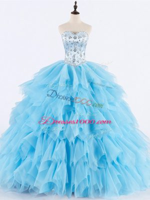 Inexpensive Baby Blue Sleeveless Beading and Ruffles Floor Length 15th Birthday Dress