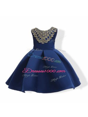 Ball Gowns Winning Pageant Gowns Navy Blue Scoop Satin Sleeveless Mini Length Zipper