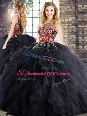 Flare Black Quinceanera Dress Military Ball and Sweet 16 and Quinceanera with Embroidery and Ruffles Bateau Sleeveless Zipper