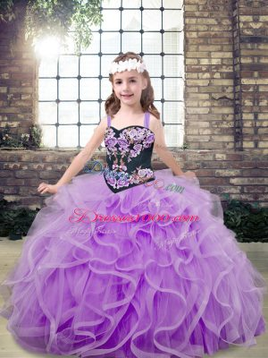 Superior Embroidery and Ruffles Custom Made Pageant Dress Lavender Lace Up Sleeveless Floor Length