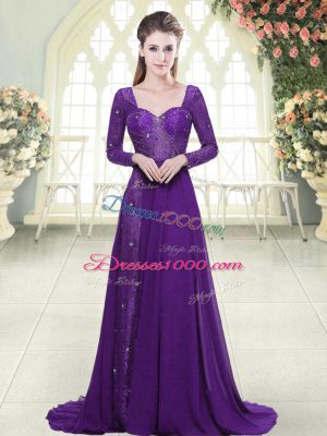 Dynamic Eggplant Purple Backless Beading and Lace Long Sleeves Sweep Train
